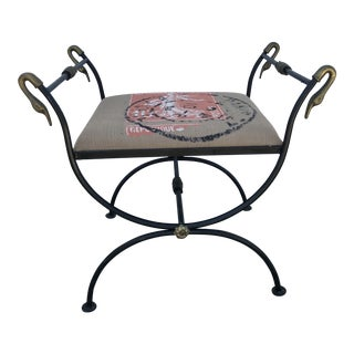 Vintage Italian Brass & Iron Neo Classical Swan Head Bench For Sale