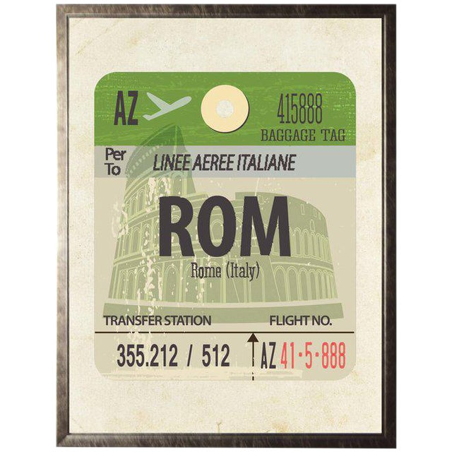 Rome Travel Ticket in Pewter Shadowbox - 13.5ʺ × 17.5ʺ For Sale