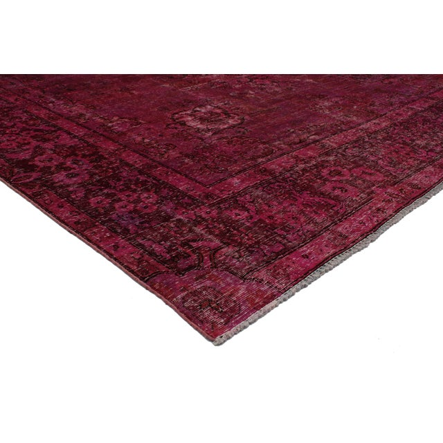 Distressed Vintage Persian Tabriz Overdyed Burgundy Red Rug With Modern Industrial Style