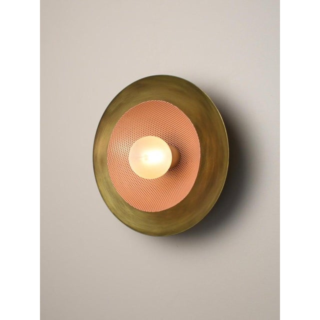Not Yet Made - Made To Order Blueprint Lighting Brass & Blush Enamel Mesh Sconce For Sale - Image 5 of 8