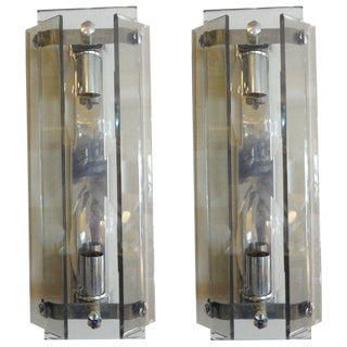 1960s Italian Mid Century Modern Veca Glass Sconces - a Pair For Sale