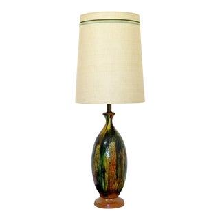 1960s Mid-Century Modern Drip Glaze Green Orange Table Lamp Orig Shade Finial