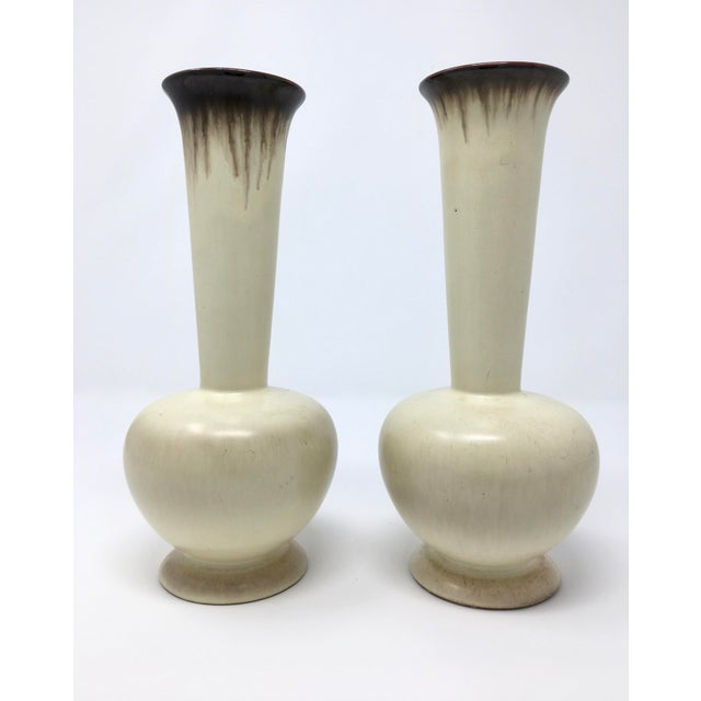Ceramic Mid-Century Modern Carstens German Winter White Drip Glaze Vases - a Pair For Sale - Image 7 of 7