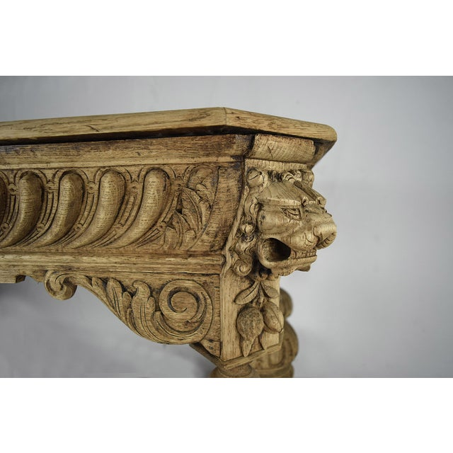 19th-C. French Bleached Oak Library Table - Image 9 of 11