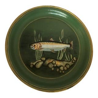 Vintage Paper Mache Fish Round Platter For Sale