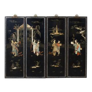Chinese Coromandel Hardstone Wall Panels For Sale
