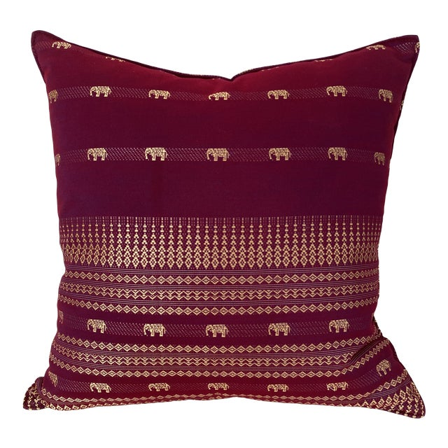 Magenta Thai Silk Pillow With Elephant Motifs For Sale