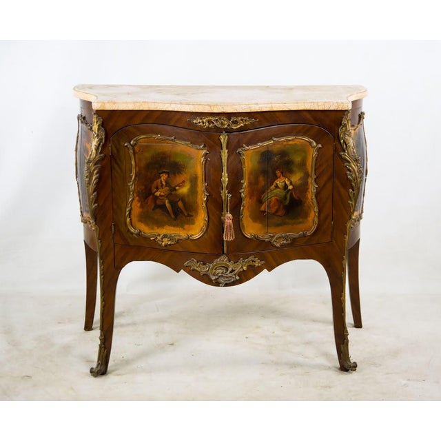 19th Century Antique French Vernis Martin Style Marble Top and Bronze Commode For Sale - Image 13 of 13