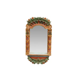 Late 20th Century Carved Wooden Wall Mirror For Sale