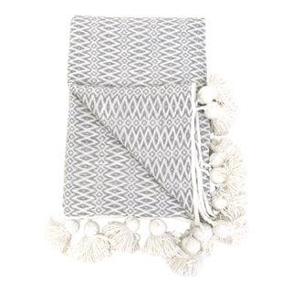 Woven Cotton Pom Pom Blanket For Sale