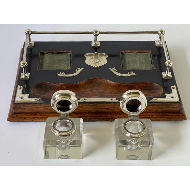 Antique English Double Inkwell Desk Set For Sale - Image 9 of 12