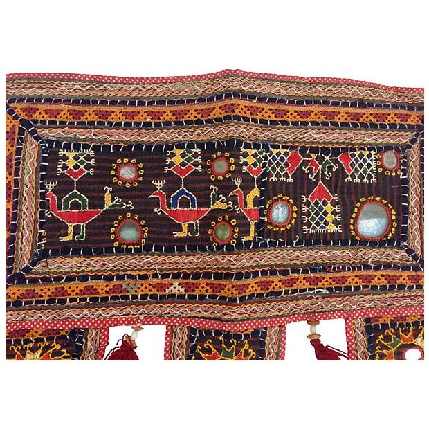 Boho Chic Indian Embroidered Mirrored Door Valance For Sale - Image 3 of 4
