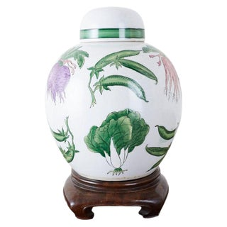 Chinese Export Porcelain Lidded Ginger Jar on Stand For Sale
