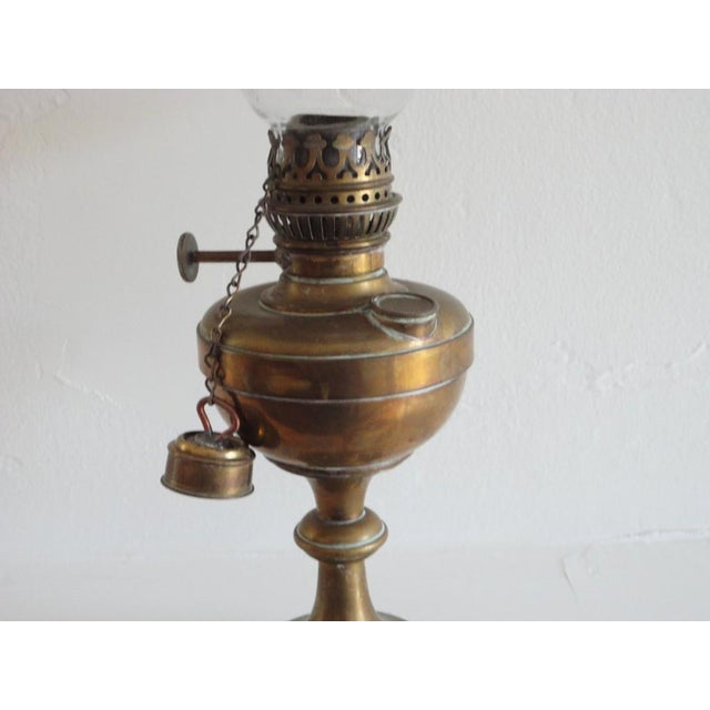 Brass Fine Early 19thc Brass Oil Lamp With Original Glass Globe For Sale - Image 7 of 7