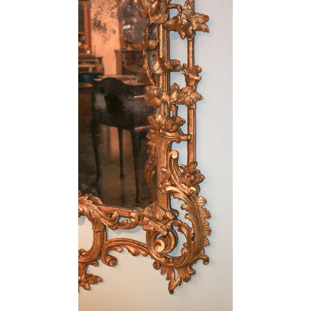 Early 19th Century Rare Early 19th Century English Chippendale Gilt Mirror For Sale - Image 5 of 10