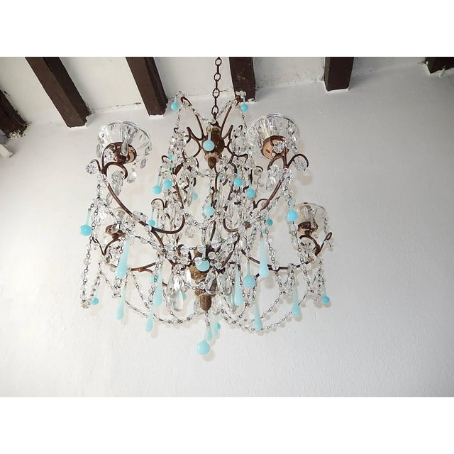 French Robins Egg Blue Opaline Beaded Chandelier, circa 1890 For Sale - Image 4 of 12