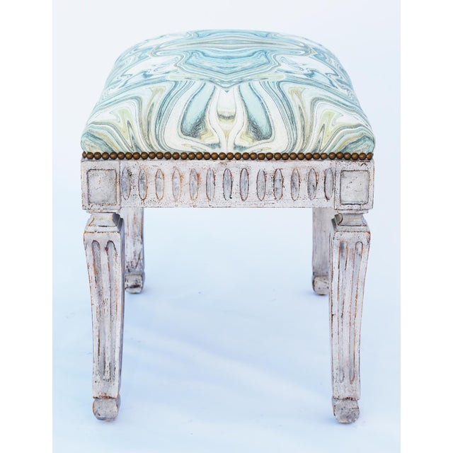 Painted Neoclassical Stool With Crown Seat For Sale In West Palm - Image 6 of 7