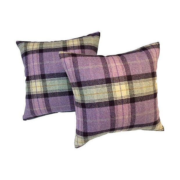 Scottish Wool Plaid Pillows - A Pair - Image 1 of 3