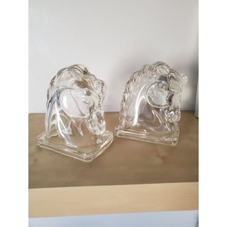 Vintage Glass Horse Head Bookends - a Pair Preview