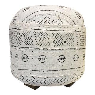 African LG Round Malian Mud Cloth Ottoman For Sale