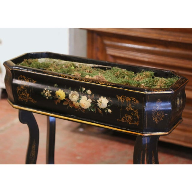 French 19th Century French Napoleon III Painted Plant Stand With Floral Motifs For Sale - Image 3 of 11