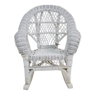 Children's Vintage White Wicker Rocking Lounge Armchair For Sale