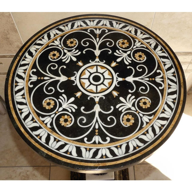 Figurative Egyptian Style Mosaic Marble Top Side Table For Sale - Image 3 of 8