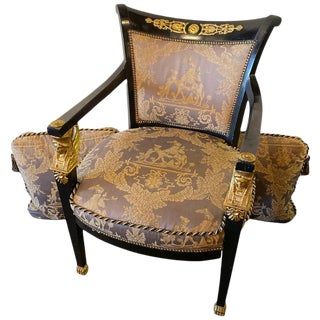 Empire Arm / Bergere / Office Desk Chair. Ebony & Giltwood Finely Upholstered For Sale
