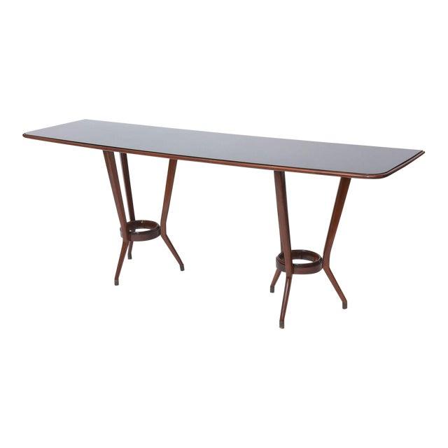 Italian Modern Mahogany, Brass and Black Glass Console Table, Guglielmo Ulrich For Sale