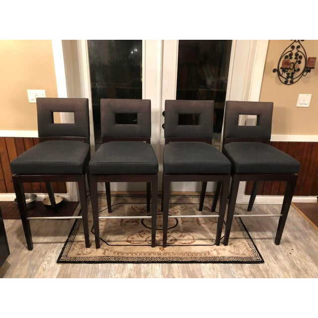 Contemporary Designer Swivel Barstools by A. Rudin - Set of 4 Midnight Onyx Stain Guard Upholstery For Sale In Seattle - Image 6 of 6