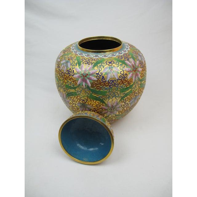 Asian Floral Cloisonné Lidded Ginger Jars - a Pair For Sale - Image 3 of 5