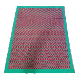 1970s Boho Chic Vibrant Pink/Green Table Cloth For Sale