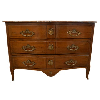 1770s Bow Front French Provincial Marquetry Commode in Solid Walnut & Marble Top For Sale
