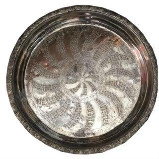 Jude Vintage Moroccan Silver Tray For Sale