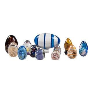 Mid-Century Lot of Colorful Studio Art Glass Eggs and Paperweights - Set of 11