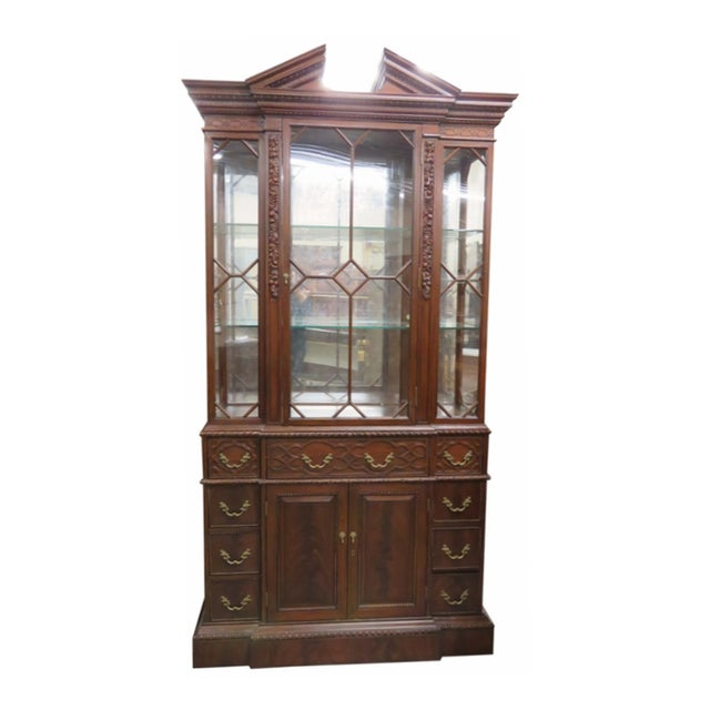 Georgian Style Carved China Cabinet For Sale
