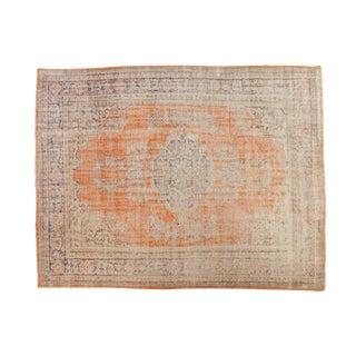 "Vintage Distressed Oushak Carpet - 8'4"" X 10'6"" For Sale"