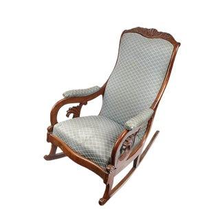 1900s Vintage Victorian Carved Walnut Upholstered Rocking Chair For Sale