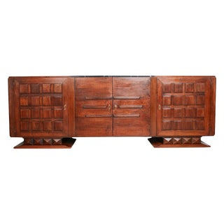 French Art Deco Black Marble, Bronze and Walnut Credenza by Gaston Poisson For Sale