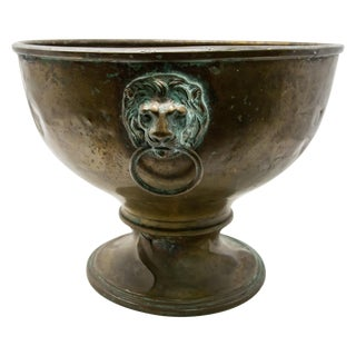 Brass Garden Planter With Lions Heads For Sale