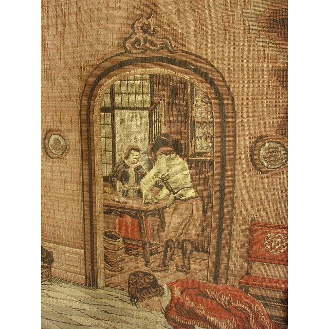 French A Long Oak Framed French Tapestry Depicting an Interior Scene, Circa1900 For Sale - Image 3 of 10