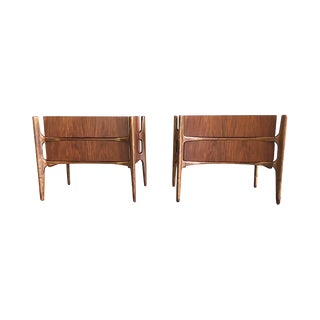 1950s Edmond Spence Curved Walnut Nightstands for William Hinn - a Pair For Sale