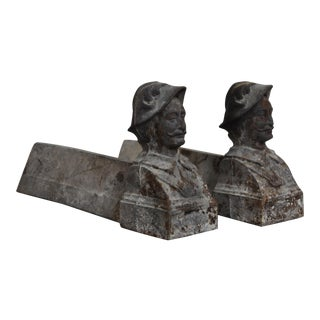Pair of Antique French Cast Iron Figural Firedogs Andirons or Chenets Early 1900s For Sale
