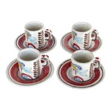 Image of DeSimone Picasso Style Espresso Cups & Saucers-Set of 4 For Sale
