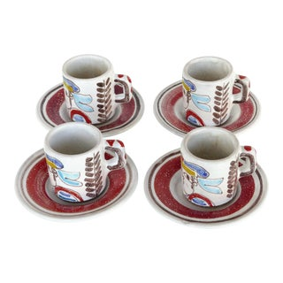 DeSimone Picasso Style Espresso Cups & Saucers-Set of 4 For Sale