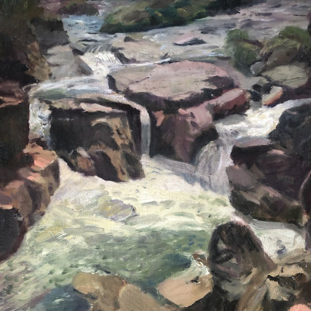 """Impressionist Original Vintage Impressionist """"Rocks in Stream/River """" Painting Vintage Frame Signed For Sale - Image 3 of 6"""