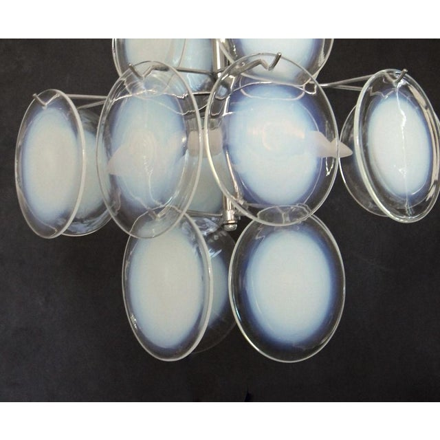Vistosi Murano Clear & Opalescent Glass Disc Chandelier Pendant Light For Sale - Image 9 of 13
