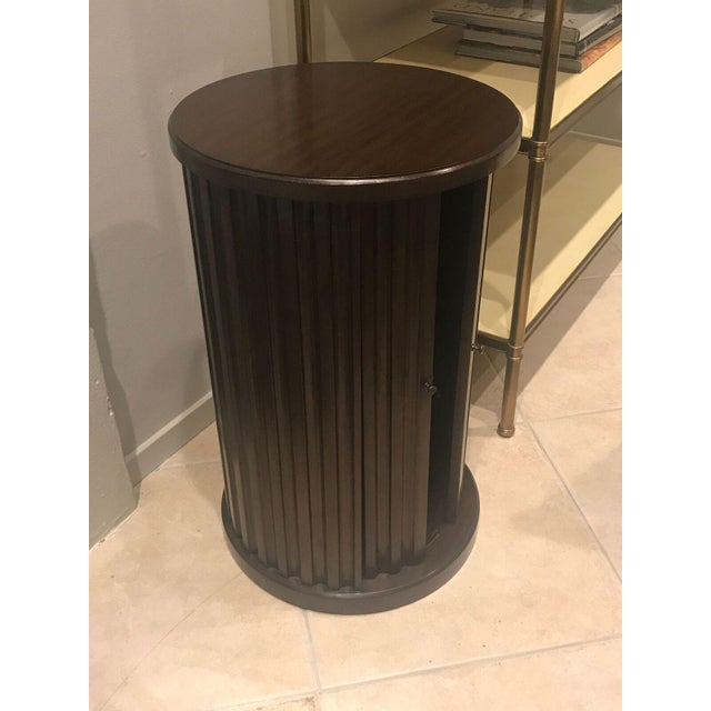 This is a lovely Halloway distressed walnut drum table by Henredon from Mark Sikes collection. Original retail price: $1,785