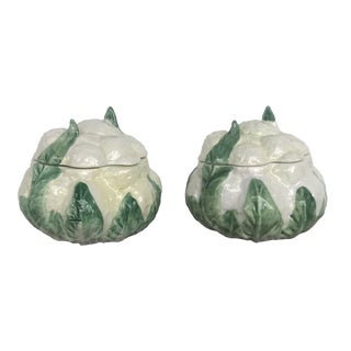 Vietri Cauliflower Trinket Boxes - a Pair For Sale