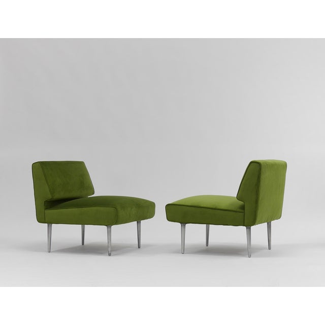 Green Pair of Lounge Chairs by Edward Wormley for Dunbar For Sale - Image 8 of 11